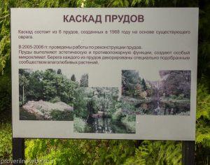 Информация о каскаде прудов. Дендросад. Переславль-Залесский. Фото
