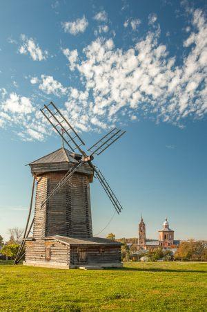 деревянные ветряные мельницы. Суздаль, музей