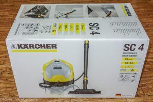 Коробка с пароочистителем Karcher. Полиэтилен удален. Вид сбоку