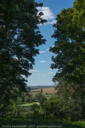 Вид на поля и село из нижнего парка. Усадьба Пушкина в Болдино