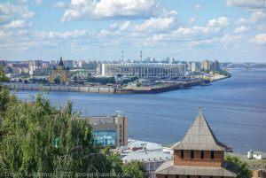 Вид со смотровой площадки на Стрелку, Собор Александра Невского и новый стадион